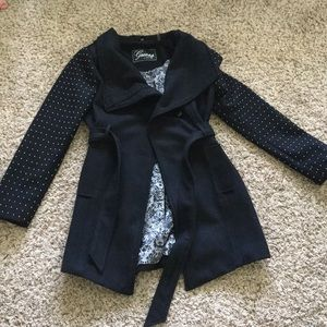 Black Wool Peacoat by Guess